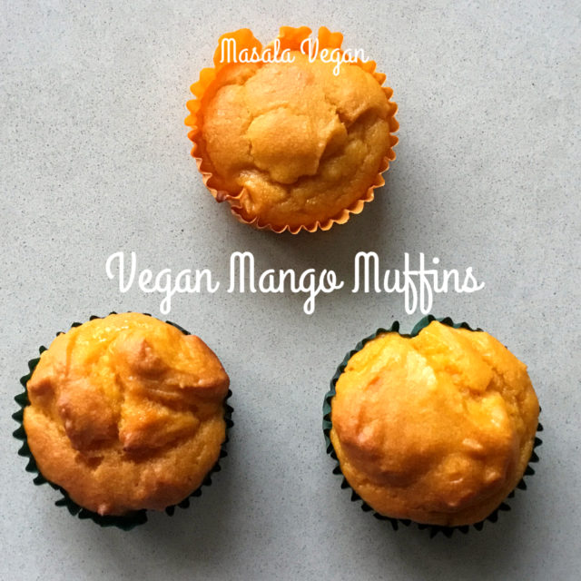 3 Vegan Mango Muffins on a cream background