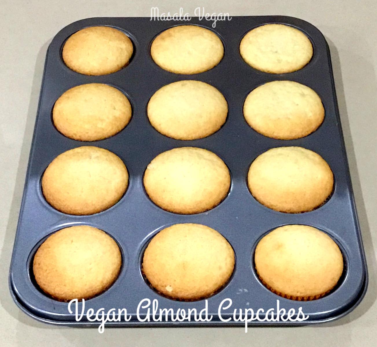 Cupcake pan with Vegan Almond Cupcakes