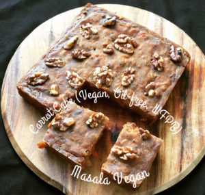 Carrot Cake Slices on a wooden cutting board  (Vegan, Oil-free, WFPB)